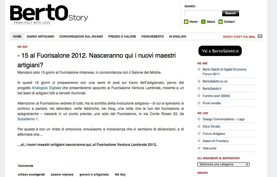 Berto Salotti Forum.Piattaforma Web Berto Salotti Il Nuovo Blog Bertostory A