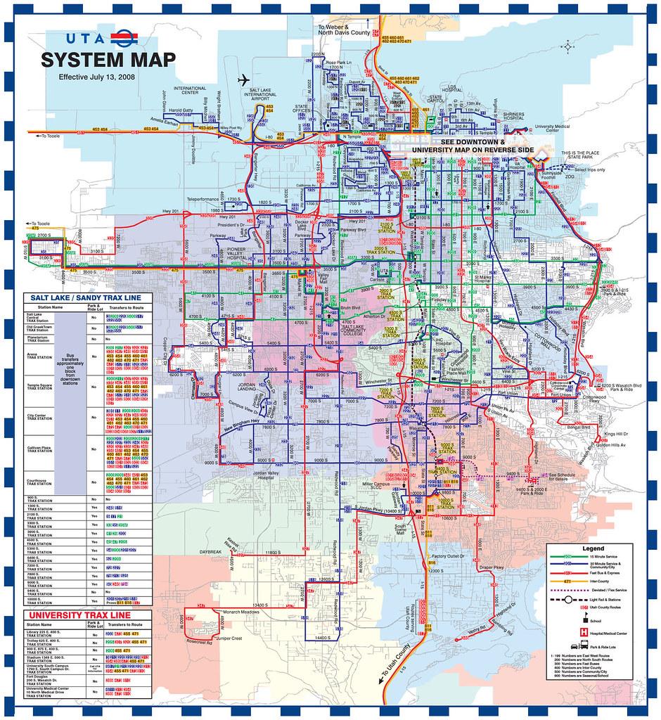 Va Hospital Utah Map.Utah Transit Authority System Map July 2008 How The Syste Flickr