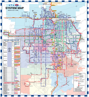 Utah Transit Authority system map, July 2008
