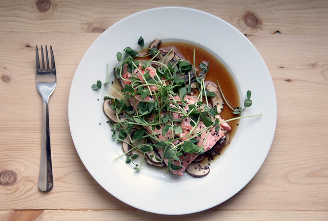 Sesame Salmon with Mushrooms and Pea Shoots 2