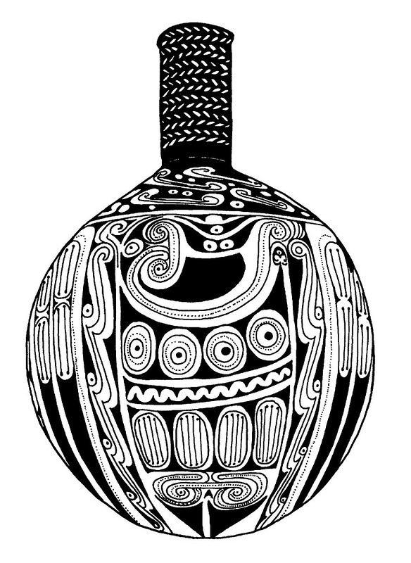Pacific island design sketch of abstract drinking vessel decoration