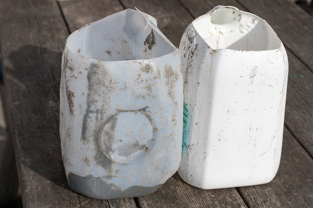 Homemade clam buckets re-using milk jugs