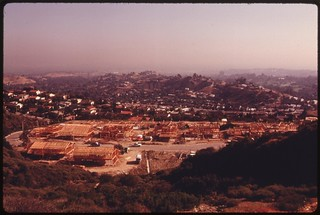 New housing under construction off Mulholland Drive in the Santa Monica Mountains on the western edge of Los Angeles, May 1975