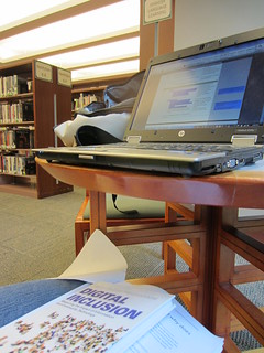 reading about digital inclusion while surrounded by digital inclusion at Hennepin County Public Library (MN)