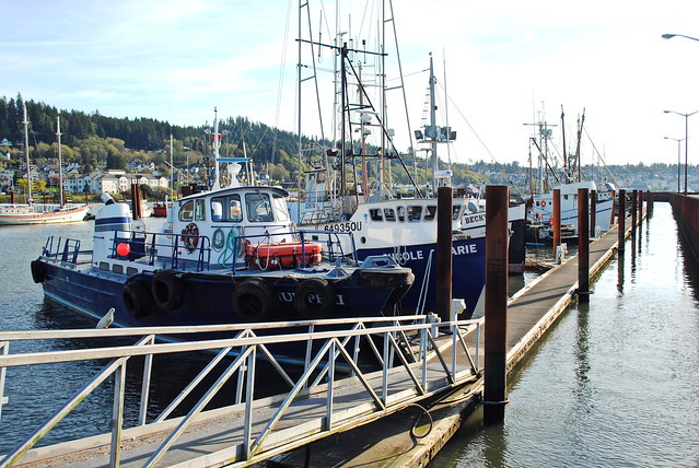 Boats parked at the docks - Astoria, Oregon
