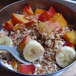 organic granola with fresh nectarines
