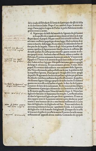 Marginal annotations in Justinus, Marcus Junianus: Epitomae in Trogi Pompeii historias [Italian]. Justino vulgarizato