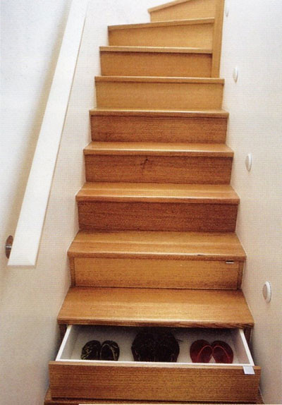 drawers hidden in stairs