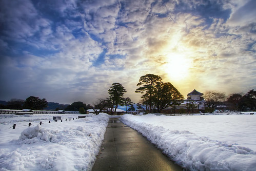 winter white snow castle ice water japan sunrise landscape day cloudy 日本 walls moat 雪 冬 hdr kanazawa 金沢 寒い 日出 日の出 金沢城 ishikawaprefecture kanazawacastle 金沢市 agustinrafaelreyes
