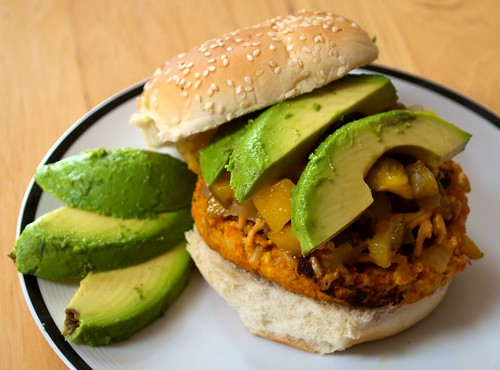 sweet potato curry burgers with roasted pineapple mango salsa