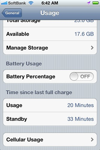 iPhone battery status