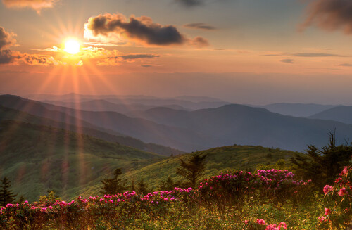 sunset clouds landscape hiking backpacking rhododendron sunburst f22 hdr roan westernnc grassyridge mountainlayers southernbalds sonya580 southernsixers