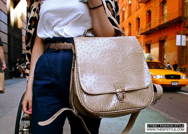 OstrichLeopard2 ostrich bag, cut-outs, coral, cat eye, street fashion style, new york, nyc,