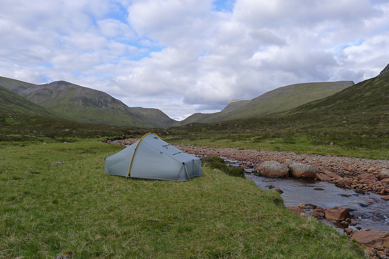Camped below Ben Alder