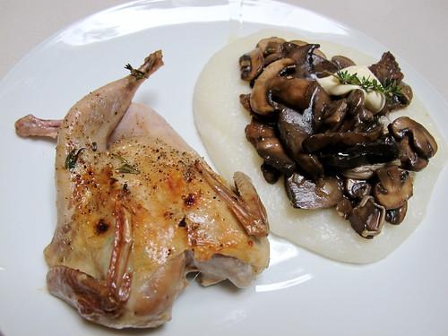 Quail, mushroom ragu, white polenta