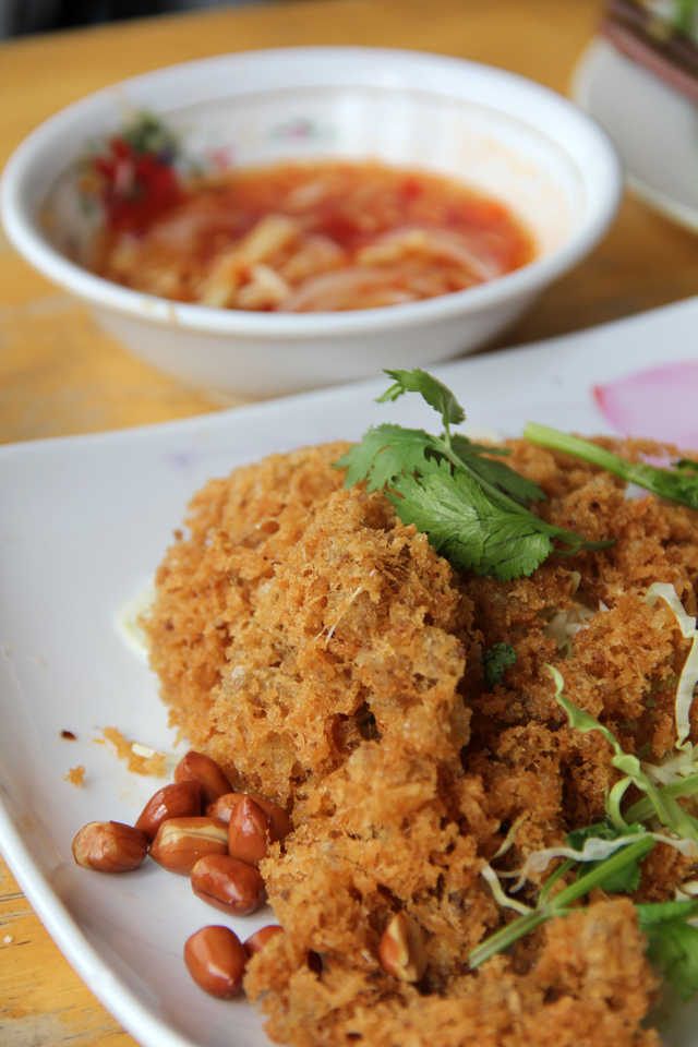 Yam Plah Duk Foo (Deep Fried Cat Fish Fluff) ยำปลาดุกฟู
