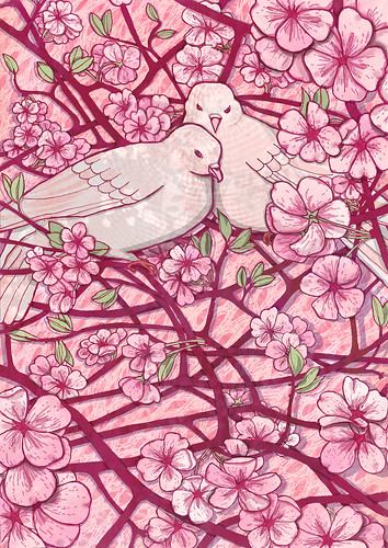 Doves in Cherry Blossom - purple