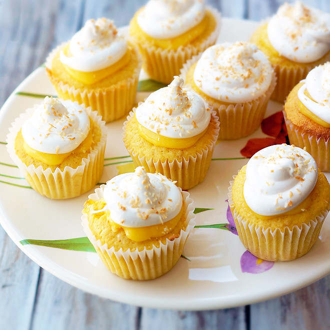 Lemon coconut cupcakes with 7-minute frosting and recipe link