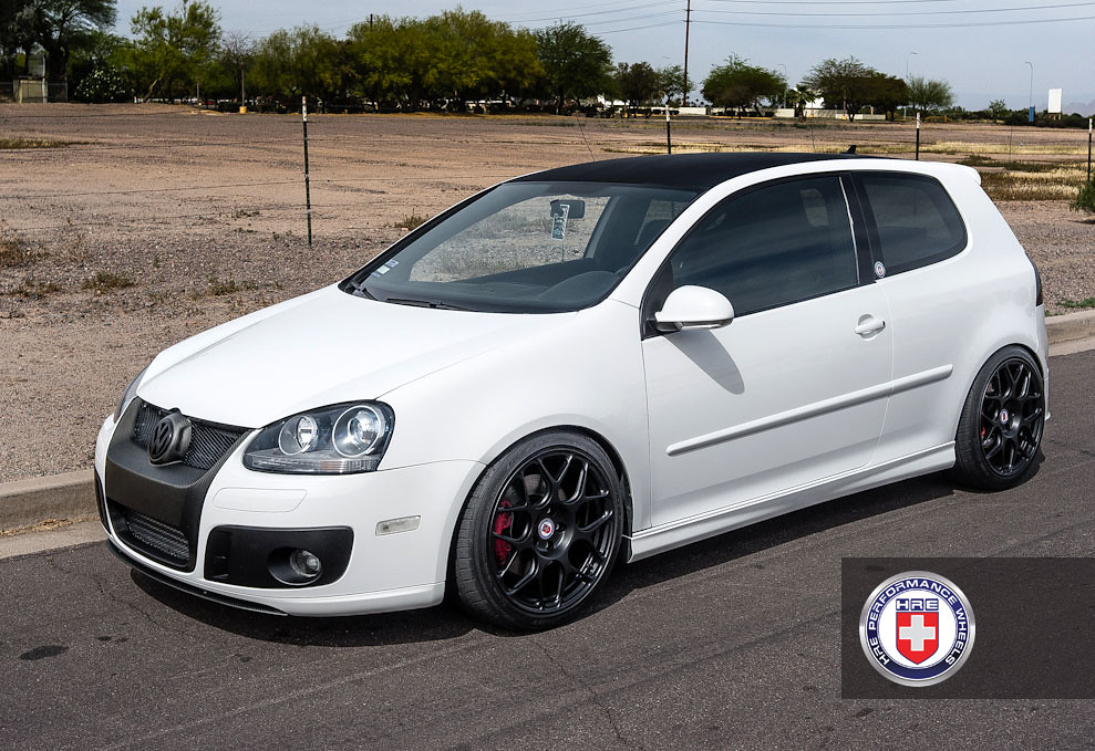 Vw Golf Gti Mk5 White P40s 18 Quot Satin Black By Hre Wheels