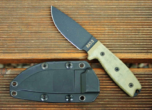 Ontario Knife Company Rat 3 Knife with Canvas Linen Micarta Handle and 1095 Plain Blade