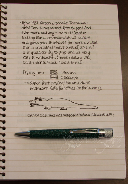 Retro 51 Green Crocodile Tornado Writing Sample