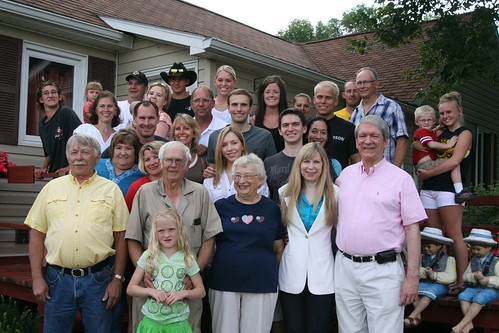 Deb's parents with their kids, kids-in-law, grandkids, grandkids-in-law, and great-grandkids, 2010.