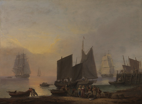 Thomas Luny - Unloading the Catch [1829] by Gandalf's Gallery