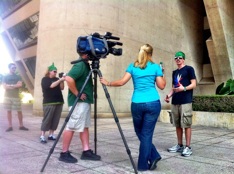 Shaun McAlister interviewed by CBS-11 in front of Dallas City Hall