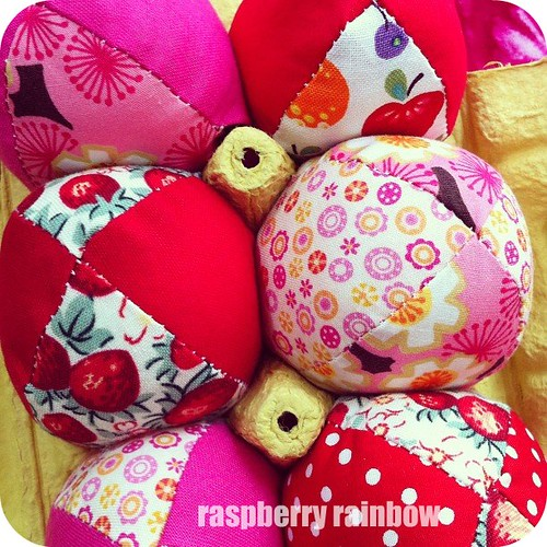 Fabric eggs.