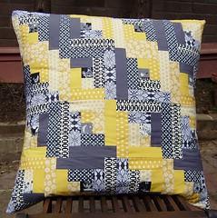 yellow and grey zigzig cushion