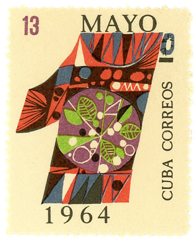 vintage Cuba postage stamp for Labour Day, May 1st, 1964