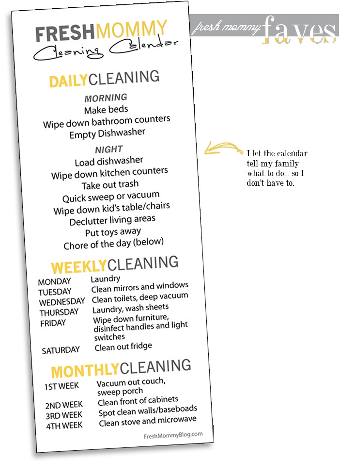 fresh mommy faves- cleaning calendar