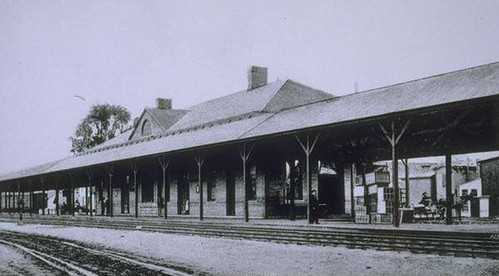 Torrington, Connecticut, railroad station, ca. 1900 by Archives at the Thomas J. Dodd Research Center