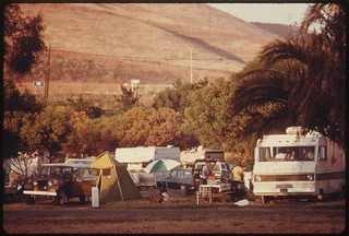 Campers at Refugio State Beach in Santa Barbara County California, north of Los Angeles, June 1975