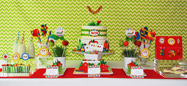 Very Hungry Caterpillar Dessert Table with Fruit Shaped Cake Pops