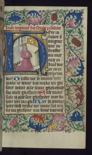 Illuminated Manuscript, Book of Hours in Dutch, Initial H with King David kneeling in prayer, Walters Manuscript W.918, fol. 129r by Walters Art Museum Illuminated Manuscripts