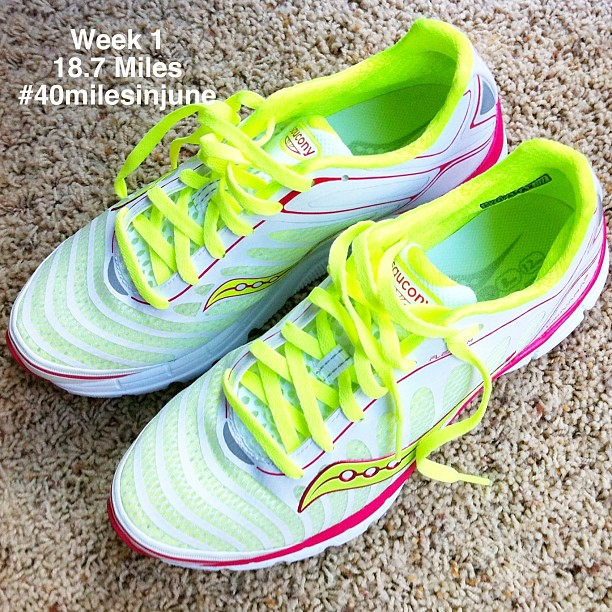 Showing off my new pretty @Saucony Kinvara 3's. My week 1 reward for #40milesinjune. Like I needed an excuse to buy them, right? Actually I blame @caseyruns! 18.7 miles done!