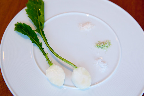 Course 6: Baby turnips with 3 types of salt