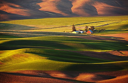 First light on Palouse Farm, picture taken from Steptoe Butte .  Canon EOS 5D Mk 2 , Canon  500 mm F4  .      _MG_1781AB