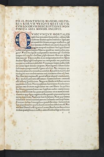 Penwork initial in Pius II, Pont. Max.: Historia rerum ubique gestarum