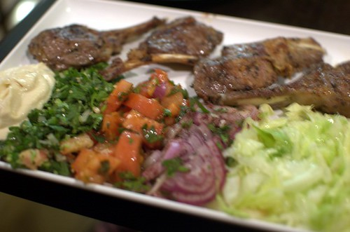 Char grill lamb cutlet plate