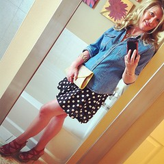 Saturday's ootd: Like a clear blue sky on a blue, blue day.  Polka dot skirt, Target.  Denim shirt, vintage Levi's (thrifted), sandals BOC, yellow bauble watch CC, bracelet Tiffany & Co.