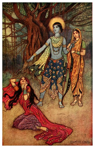 008-Rama rechaza a la amante demonio-Indian myth and legend 1913-Warwick Goble