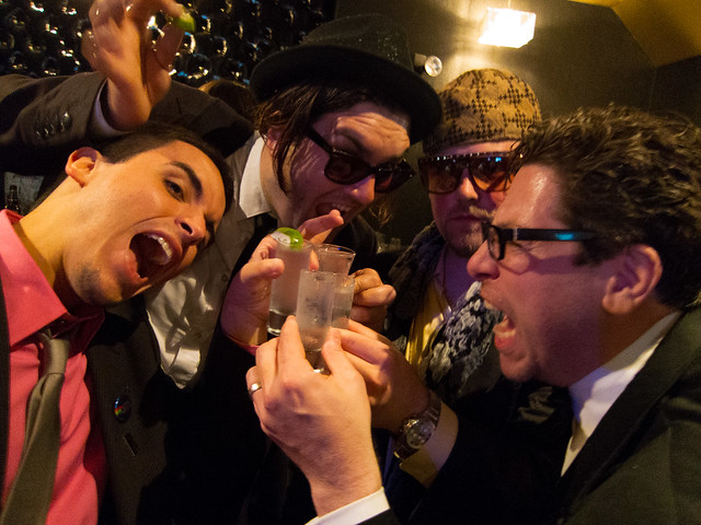 Christopher, Ben, Scumbag Steve & David doing shots
