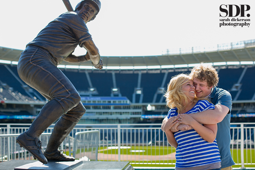 Kauffman Stadium engagement photography