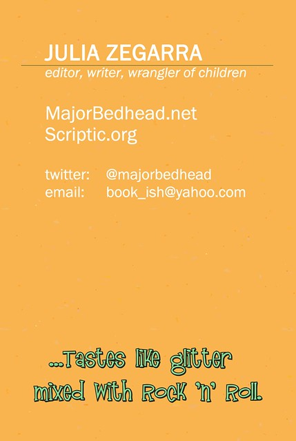 MajorBedhead.net's business card, back