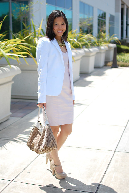 H&M white blazer and pink sheath dress