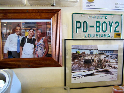 The Obamas ate fried shrimp po-boys at Parkway in 2010. No doubt they chose Parkway because they knew they would fine a genuine serving of New Orleans food and people.  Photo by Melanie Merz.