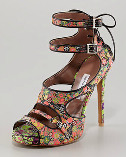Tabitha Simmons Bailey Floral-Print Lace-Up Sandal Retail $1450 on sale for $971