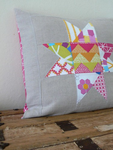 Quilted Star Pillow Cover in Pink and Yellow by Jenny Bartoy